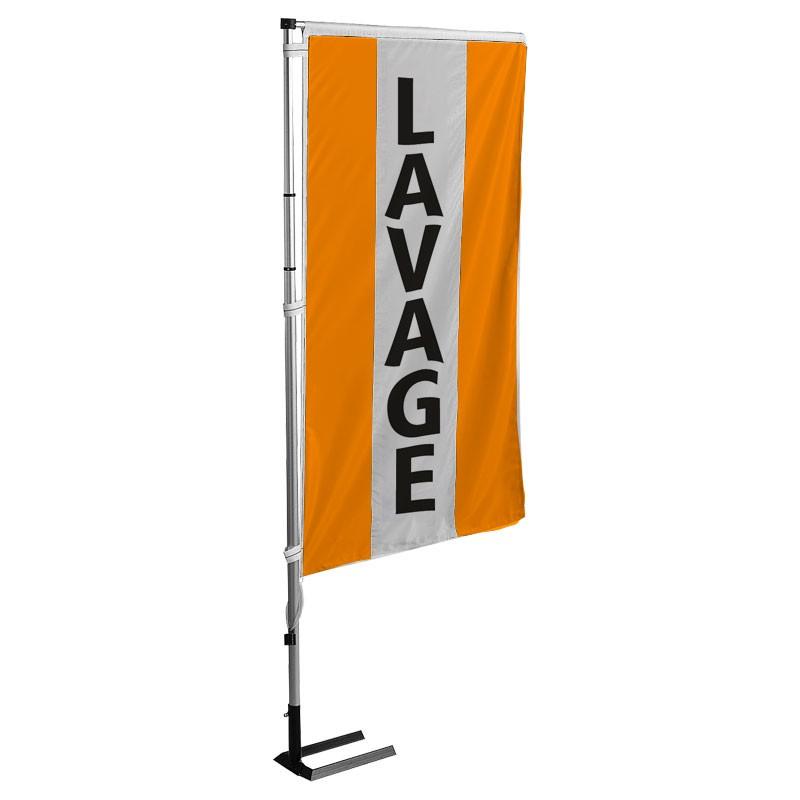 Kit drapeau LAVAGE avec mât et pied autocal