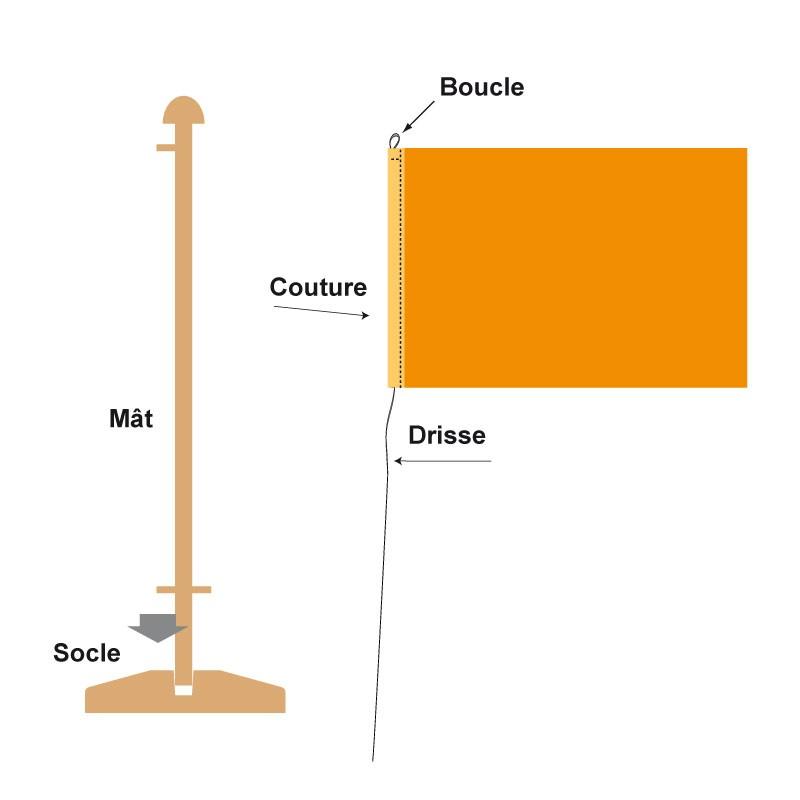 Kit pavillon de table rectangulaire vendu avec son socle et son mât