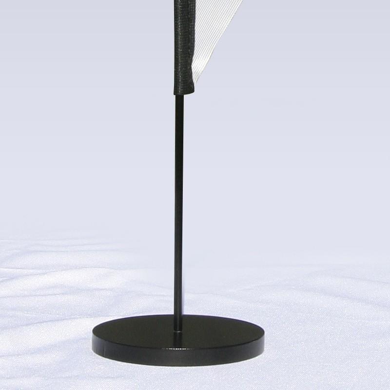 Drapeau de table personnalisé vendu avec son mât et son socle, modèle LEAF