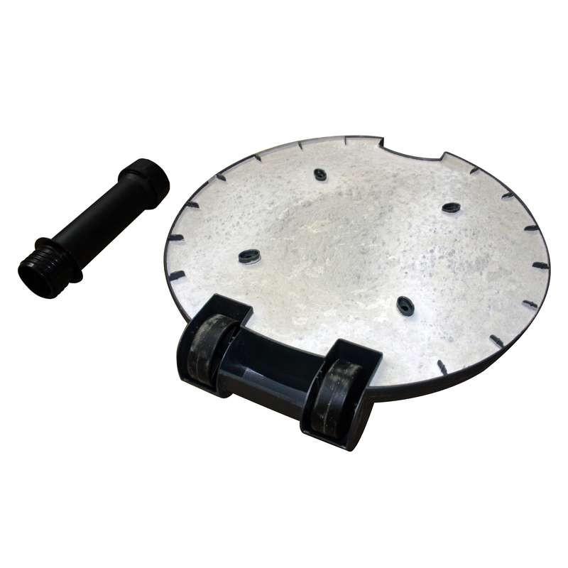 Pied béton 40kg gainé de plastique noir, à roulettes