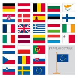 Kit de drapeaux de table européens : 28 pays + 1 CEE