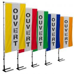 Kit drapeau OUVERT avec mât et pied autocal