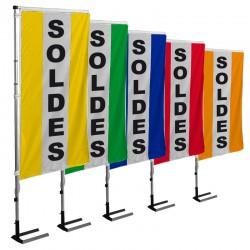 Kit drapeau SOLDES avec mât et pied autocal