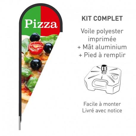 Kit beach flag Pizza - en forme de goutte