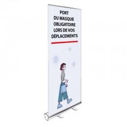Kakémono Roll-up PORT DU MASQUE OBLIGATOIRE LORS DE VOS DÉPLACEMENTS 200x85cm