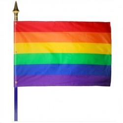 Drapeau arc-en-ciel multicolore monté sur hampe