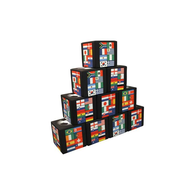 Kit mur de poufs personnalisables, 9 pièces